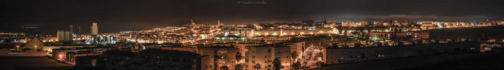 Spectacular night panorama view of the town of Marchena in the province of Seville, region of Andalusia, in the country of Spain