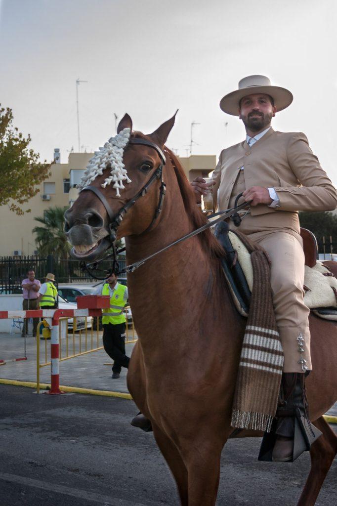 Jinete en traje de corto y caballo