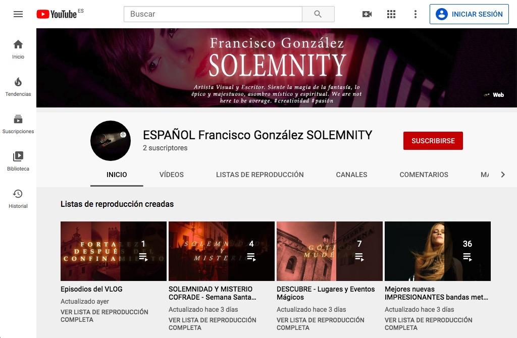 ESPAÑOL Francisco Gonzalez SOLEMNITY Youtube channel main page
